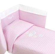 D34 ONLY EMBROIDERED BED QUILT BUMPER h45cm SATIN COTTON 140x110-180x45cm