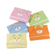 HOODED TOWEL BATHROBE WITH EAR TERRY 100% COTTON 75x75 cm  EMBROIDERED