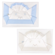 D56  EMBROIDERED CRADLE SHEET+ FITTED+PILLOW CASE 100% COTTON 110x80-100x50-37x28 cm