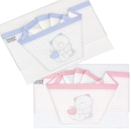 D26 EMBROIDERED CRADLE SHEET+ FITTED+PILLOW CASE 100% COTTON 110x80-100x50-37x28 cm