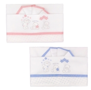 D43 EMBROIDERED CRADLE SHEET+ FITTED+PILLOW CASE 100% COTTON 110x80-100x50-37x28 cm