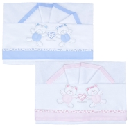 D30 CRADLE SHEET + PILLOW CASE +FITTED EMBROIDERED 100%COTTON 110x80 - 100x50 - 37x28 cm