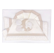 D51 CRADLE SHEET+PILLOW CASE+ FITTED EMBROIDERED 100% COTTON 110x80 - 96x50 - 37x28 cm