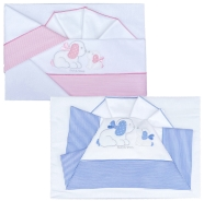 D38 EMBROIDERED CRADLE SHEET+ FITTED+PILLOW CASE 100% COTTON 110x80 - 96x50 - 37x28 cm