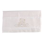 R31 EMBROIDERED CRADLE SHEET +FITTED+PILLOW CASE 110x80-100x50-37x28 cm