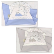 D21 EMBROIDERED CRADLE SHEET+ FITTED+PILLOW CASE 100% COTTON 110x80-100x50-37x28 cm