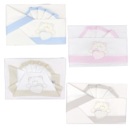 D41 EMBROIDERED CRADLE SHEET+ FITTED+PILLOW CASE 100% COTTON 110x80 - 96x50 - 37x28 cm
