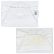 D40 EMBROIDERED CRADLE SHEET+ FITTED+PILLOW CASE 100% COTTON 110x80 - 96x50 - 37x28 cm