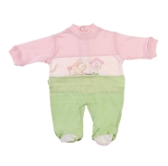 EMBROIDERED BABY ROMPER SUMMER JERSEY 100% COTTON UNDER AND BACK OPEN BY BOTTONS