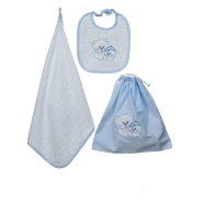 KINDERGARTEN SET 3 PCS EMBROIDERED BIB+TOWEL+SAC+CUTLERY SAC