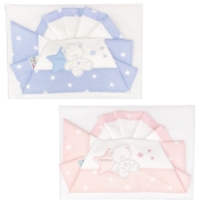 D50 EMBROIDERED CRADLE SHEET+ FITTED+PILLOW CASE 100% COTTON 110x80 - 96x50 - 37x28 cm