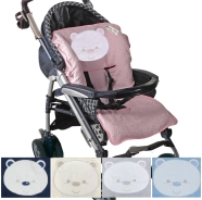 COVER STROLLER EMBROIDERED SPONGE 100% COTTON WITH HOLES FOR LIFE BELTS