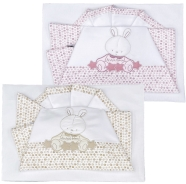D53 EMBROIDERED CRADLE SHEET+ FITTED+PILLOW CASE-100% COTTON 110x80 - 80x130 - 37x28 cm