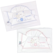 D58 EMBROIDERED CRADLE SHEET+ FITTED+PILLOW CASE 110x80 - 100x50 - 37x28 cm