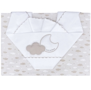 D26 EMBROIDERED CRADLE SHEET+ FITTED+PILLOW CASE 100% COTTON 110x80-80x130-37x28 cm
