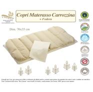 COPRI MATERASSO CARROZZINA+ FODERA BIO 100%COTONE NATURALE MISURA 70x35 cm