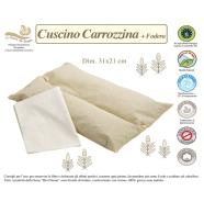 CUSCINO CARROZZINA+FEDERA BIO COTONE 100% NATURALE MISURA 31x21 cm