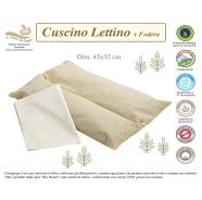 CUSCINO LETTINO + FEDERA BIO 100% COTONE NATURALE MISURA 45x32 cm
