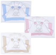 D48 LENZUOLO CULLA RICAMATO + SOTTO + FEDERA 100% COTONE MISURE 110x80-120x80-37x28 cm