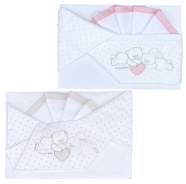 D28 EMBROIDERED CRADLE SHEET+ FITTED+PILLOW CASE 100% COTTON 110x80 - 100x50 - 37x28 cm
